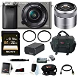 Sony Alpha A6000 Camera w/ 16-50mm & 30mm Lens Accessory Bundle (Graphite)