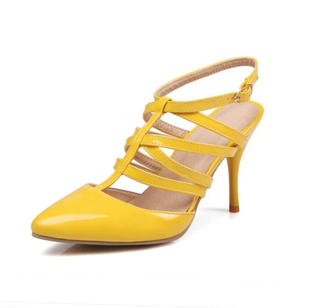 mogeek Femme Eté Sandales à Talons B012OBQCEK Talons Boucle Sandales Sandales Bride Cheville Talons Hauts Chaussures Jaune 4d17a72 - latesttechnology.space