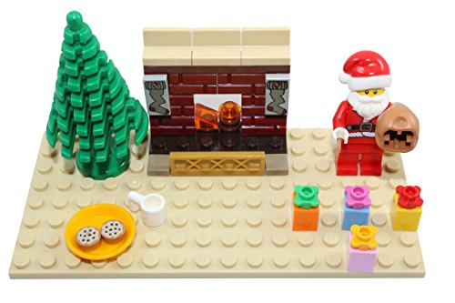 (LEGO Christmas Santa Claus Toy with Christmas Tree, Fireplace, and Presents - Custom Minifigure)