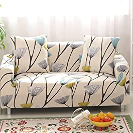 Lamberia Printed Sofa Cover Stretch Couch Cover Sofa Slipcovers for Couches and Loveseats with Two Pillow Case