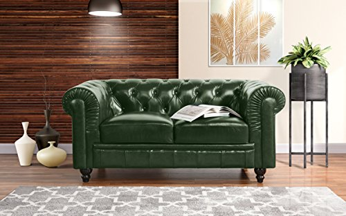 Divano Roma Classic Scroll Arm Real Leather Match Chesterfield Love Seat - Leather Sofa Green