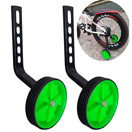 LX a Pair of Children's Bicycle Training Wheels 12-20Inch Universal Kids Bike Stabiliser (Green)
