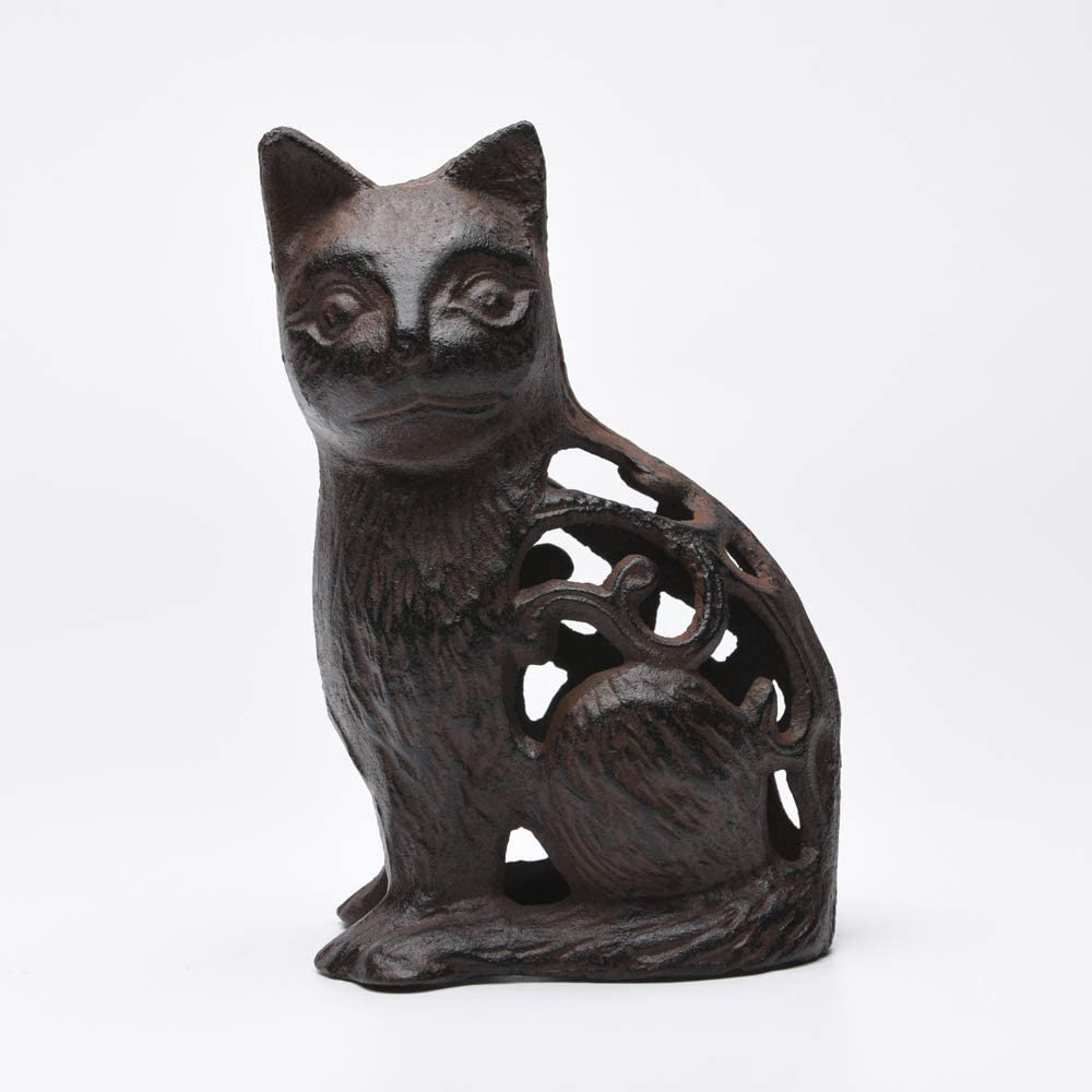 Cast Iron Feng shui Sitting Cat Statue-Cat Sculpture Animal Crafts Iron Hollow Cat Modeling Ornaments Statue Sculpture for Indoor Home Outdoor Garden Art Decor - Antique Replica Rust Color PTZD006