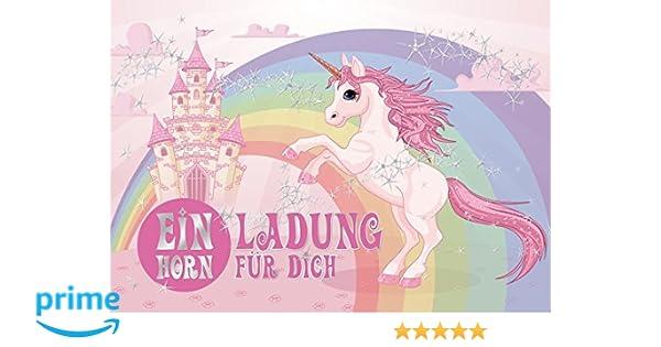 Invitaciones de cumpleaños para niña, diseño de unicornio con castillo de unicornio (juego de 3), 10 unidades, diseño de unicornio (10952), 5 colores ...