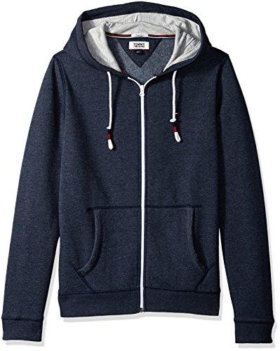 Tommy Hilfiger Men's Hoodie Full Zip up Sweatshirt, Black iris Medium