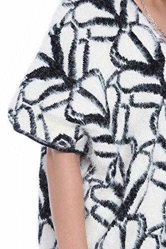 Q2 Femme Gilet long en fausse fourrure à motifs et bordures imitation cuir
