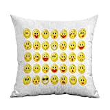 Emoji Bedding At Target FreeKite Emoji Printed Custom Pillowcase Funny Yellow Heads Various Facial Expressions Round Shapes Happy Sad Laughing Decorative Sofa Hug Pillowcase W16 x L24 Inch Yellow Red Black