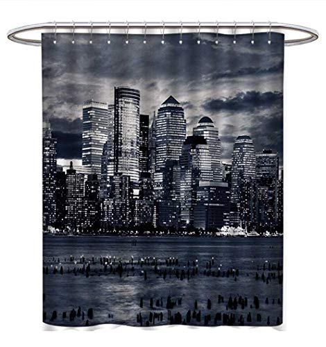 Anhuthree City Shower Curtains Fabric Extra Long Dramatic View of New York Skyline from Jersey Side Clouds Buildings Bathroom Decor Set with Hooks W48 x L72 Charcoal Grey Black White (New York Yankees Rock)