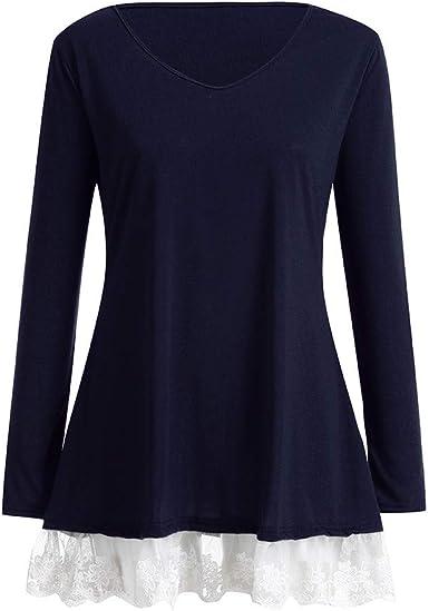 Camisetas Manga Larga Mujer Tops Encaje Cuello Redondo Suelto Una LíNea Camisetas Fluidas Blusa TúNica Tops Blusa Casual de Algodón Camisa Sólido Otoño y Invierno BuyO: Amazon.es: Ropa y accesorios