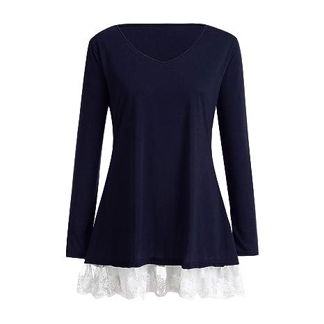 ZODOF Mujer Camisetas Manga Larga Blusas de Encaje Flores Lace Crochet Sin Tirantes Camisas Lace Shirt Sweatshirt T-Shirt: Amazon.es: Ropa y accesorios