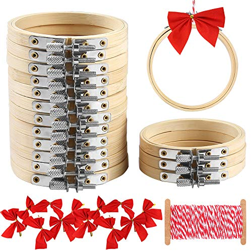 Caydo 16 Pieces 3 Inch Embroidery Hoops Kit Include Bamboo Circle Cross Stitch Hoop Ring, Bows and Cotton String for Christmas Ornaments Decoration and Art Craft Handy Sewing (Cross Stitch Big)