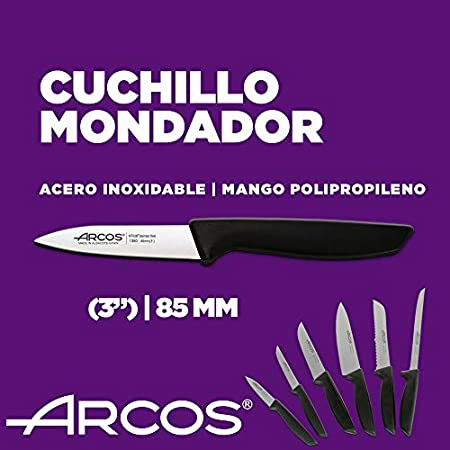 Arcos Juego Cuchillos Cocina Profesionales| Cuchillos Cocina Profesional | 6 pzas | Cuchillos Acero Inoxidable Mango Negro | Utensilios de Cocina Serie Niza | Apto lavavajillas