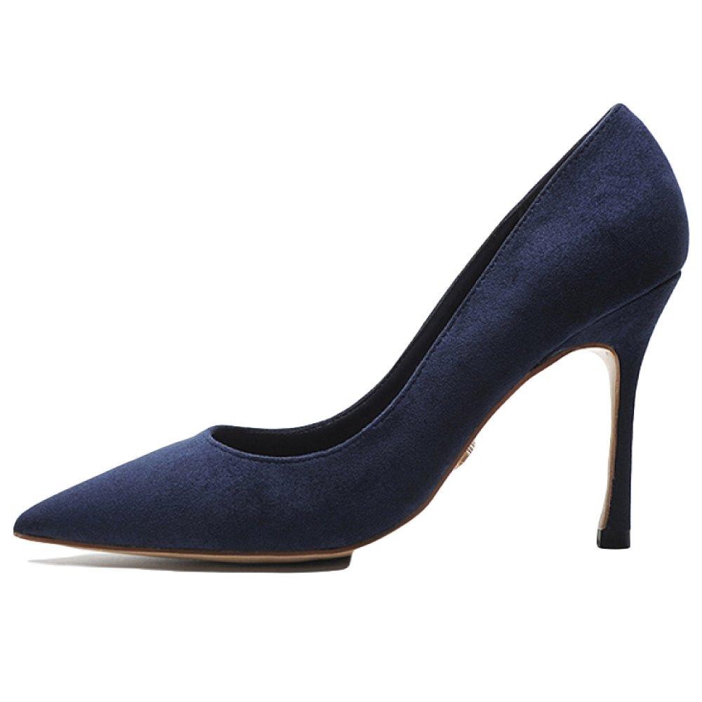 RENHONG Damen Schwarz Blau Rot Elegante Stiletto Heels Spitze Toe Abend Party Prom Schuhe Braut Brautjungfer Hochzeit Fuuml;r Lady Sandalen  40|Blue