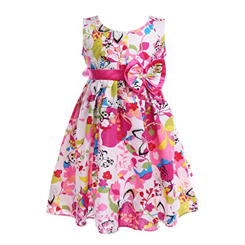 Colorful House Girls Dress Hot Pink Flower Bow Tie Party Sundress Size 150 For Us L 6   5 6 Years