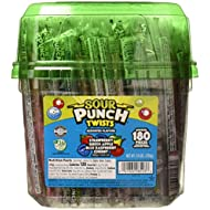 """Sour Punch Twists, 6"""" Individually Wrapped Soft & Chewy Candy Tub, 4 Fruit Flavors, 62.4 Oz"""