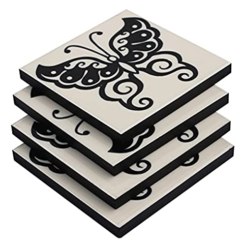 Coaster Set on SALE - Set of 4 Large Drink Tea Cup Saucer Coasters – Retro Beverage Coasters for Glasses - Butterfly Pattern Black & White Square Table Topper Decor Coasters Bar/Dining Accessories