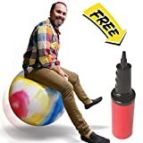 WALIKI TOYS Hopper Ball For Adults (Hippity Hop Ball, Hopping Ball, Bouncy Ball With Handles, Sit & Bounce, Space Hopper, Kangaroo Bouncer, Jumping Ball, Ages 13-101, 29'', Rainbow Tie Dye, Pump)