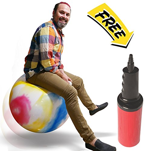 "UPC 636431690147, WALIKI TOYS Hopper Ball For Adults (Hippity Hop Ball, Hopping Ball, Bouncy Ball With Handles, Sit & Bounce, Space Hopper, Kangaroo Bouncer, Jumping Ball, Ages 13-101, 29"", Rainbow Tie Dye, Pump)"