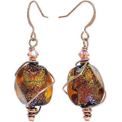 [Body Candy Handcrafted Autumn Dichroic Dangle Earrings Created with Swarovski Crystals] (Dichroic Glass Earrings)