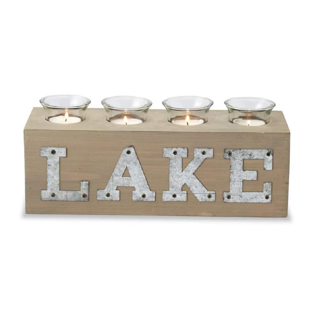 Mud Pie Lake Wooden Block Votive Candle Holder