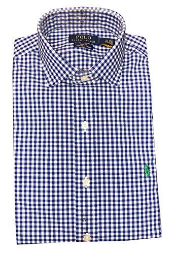 (Ralph Lauren Men's Slim Fit Plaid Button-Down Shirt (White/Powder, 14.5 Neck 32/33 Sleeve))