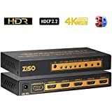 ZISO 4K HDMI 2.0 Switcher, 5 in 1 out,5 Port HDMI Switch with IR Wireless Remote, Quality 4K/60Hz 4:4:4 HDR HDCP2.2 3D (HD-SW5A)