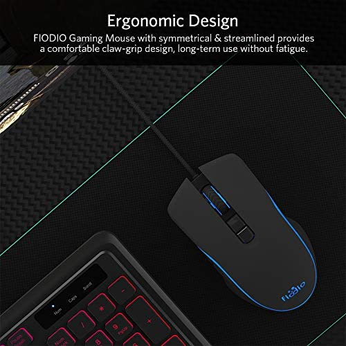 FIODIO Wired Gaming Mouse, 4 RGB LED Backlight Modes Computer Gaming Mice with 4 Levels Adjustable DPI up to 2400, Comfortable Ergonomic Optical PC Laptop MacBook Gamer Mouse for Windows 7/8.1/10 51hYCRmc 2BYL