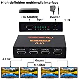 HDMI Splitter 1x4(1 in 4 Out) Multiscreen Display,Support Full Ultra HD 1080P 2K HDCP and 3D Resolutions for HDTV/Blu-Ray Player/DVD / DVR/Xbox etc.