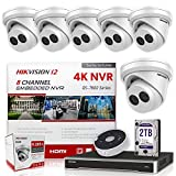 Hikvision IP Camera Kit DS-7608NI-I2/8P 8CH 4K PoE NVR Bundle w/ 6 x DS-2CD2343G0-I 4MP 4.0mm Hikvision Turret IP Cameras Replacement Model for DS-2CD2342WD-I Genuine English International (13 Items)
