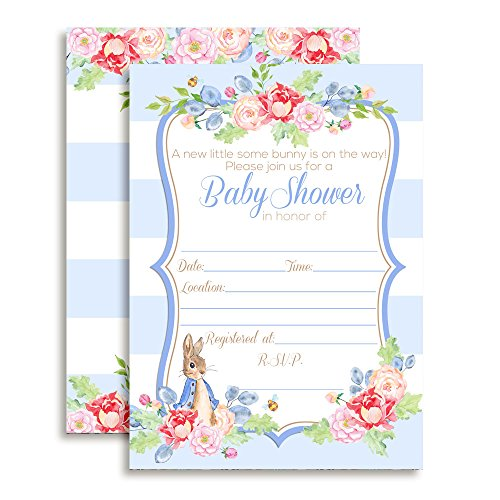 Amanda Creation Little Rabbit Boy Baby Shower Fill in Style Invitations. Set of 20 Including envelopes