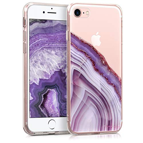 - kwmobile Case for Apple iPhone 7/8 - Clear TPU Soft Phone Cover - Agate Stone Design, Violet/Gold/Transparent