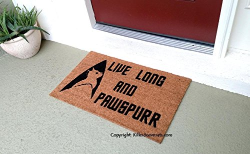 Live Long and Pawspurr Funny Fandom Custom Handpainted Welcome Doormat by Killer Doormats - Large
