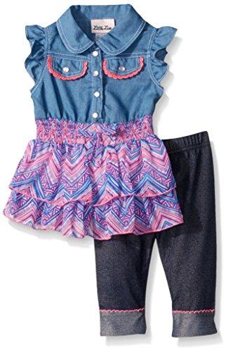 Toddler Girls Capri Set (Little Lass Baby Toddler Girls' 2 Piece Fashion Capri Set, Blue, 4T)