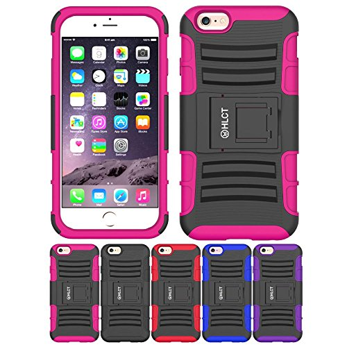 iPhone 6S / 6 Case, HLCT Rugged Shock Proof Dual-Layer Case with (Philips Media Wallet)