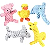 Pustor Animals Durable Chew Cotton Rope Toys Puppies Dog Toys Gift Set for Small or Large Dogs Teething Chewing Variety Pack of 5