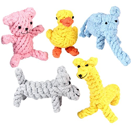 Pustor Animals Durable Chew Cotton Rope Toys Puppies Dog Toys Gift Set for Small or Large Dogs Teething Chewing Variety Pack of 5 by PUSTOR