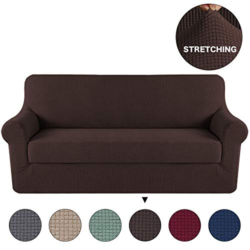 Turquoize Stretch Sofa Cover/Couch Covers/Lounge Cover, 2-Piece Stretch Slipcover Spandex Fabric Soft and Durable for Sofa No Slipping Stay in Place Cover (Sofa, Chocolate) (Cushion Covers Leather)