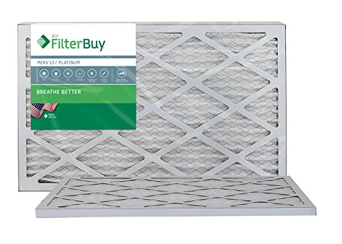 AFB Platinum MERV 13 12x25x1 Pleated AC Furnace Air Filter. Pack of 2 Filters. 100% produced in the USA.