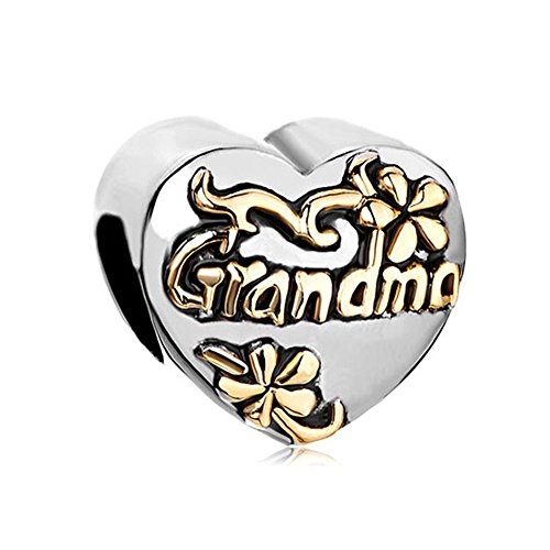 1 Grandmother Charm - LovelyJewelry Grandma Family Charm Heart Floral Beads For Bracelet (Grandma 1)