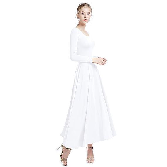 6fa5e408b IWEMEK Women Irregular Hem Liturgical Praise Dance Dress Loose Fit ...