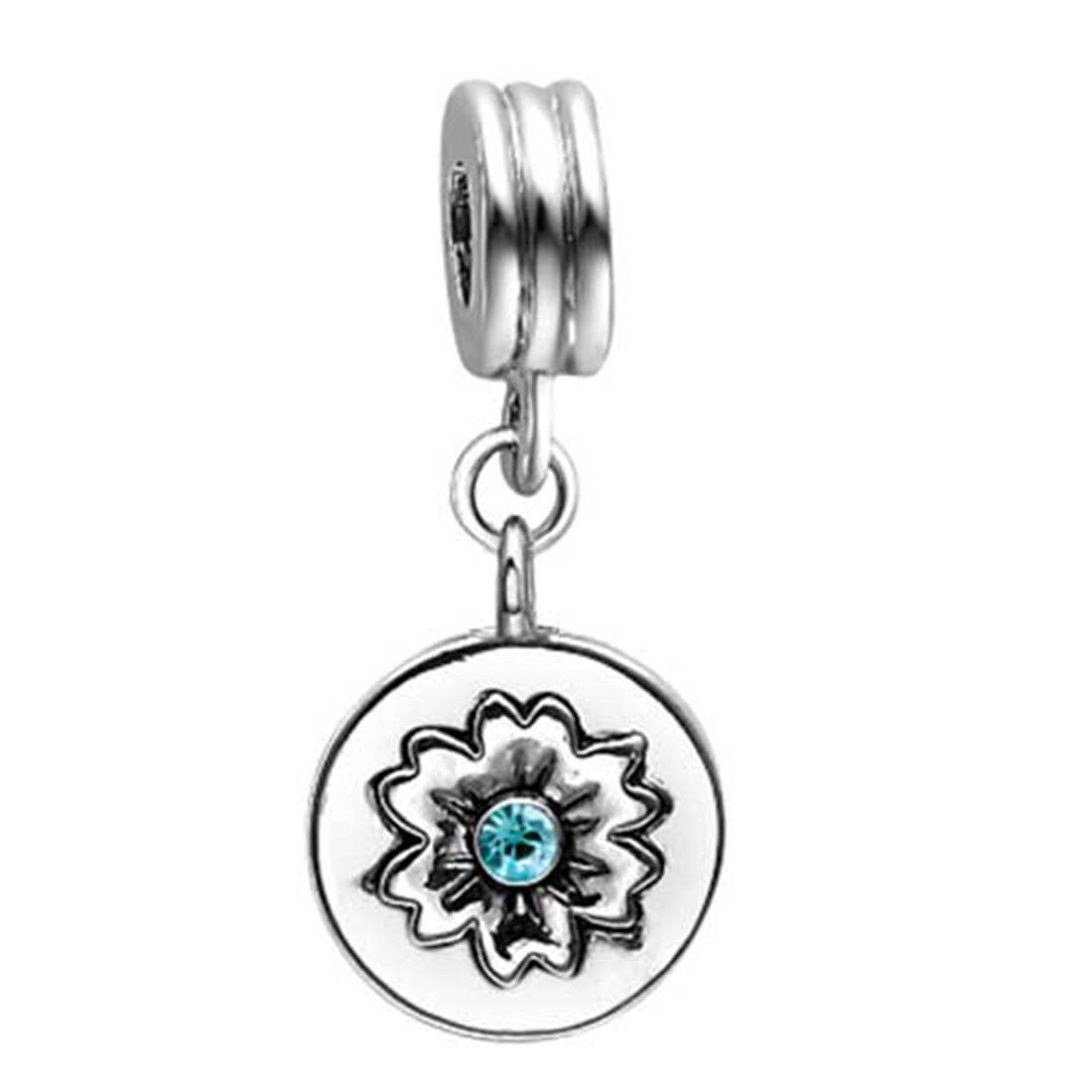GiftJewelryShop London 2012 Olympic Games Logo Blue Aquamarine Crystal March Birthstone Flower Dangle Charm Bracelets