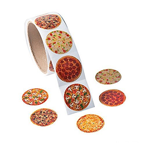 Fun Express 1 Roll ~ Photo Pizza Stickers ~ 100 Round 1.5 Paper Stickers ~ New/Shrink-wrapped by -
