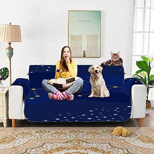 "WDDHOME Aquarius Blue Temperament Constellation Estrechable Elastic Sofa Cover Sofa Protector Cover Sofa Loveseat Cover 66""(168cm) For 3 Seat Machine Wash Arm Chair Cover"