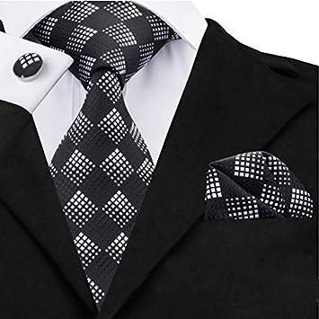 HYCZJH Corbatas de Moda para Hombres Plaid Seda Jacquard Corbata + ...