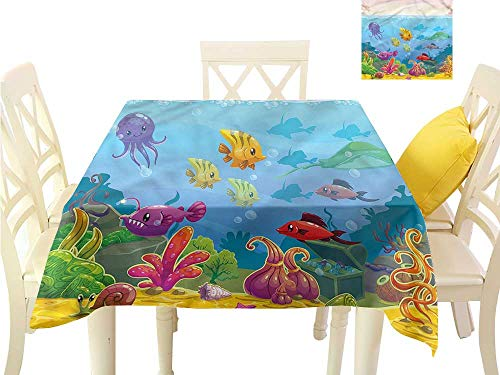 - WilliamsDecor Outdoor Picnics Aquarium,Cartoon Underwater Scenery Printed Tablecloth W 60