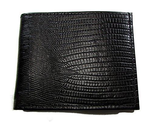Durable Mens Bifold Wallet Black Lizard Print Italian Leather Six Credit Card Slots