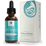 Hyaluronic Acid Serum - Vitamin C and E - Hydrating Anti Aging for Face and Skin - Green Tea, Jojoba Oil, Witch Hazel - Best Natural and Organic Toner Plus Moisturizer - 1 Ounce by Foxbrim
