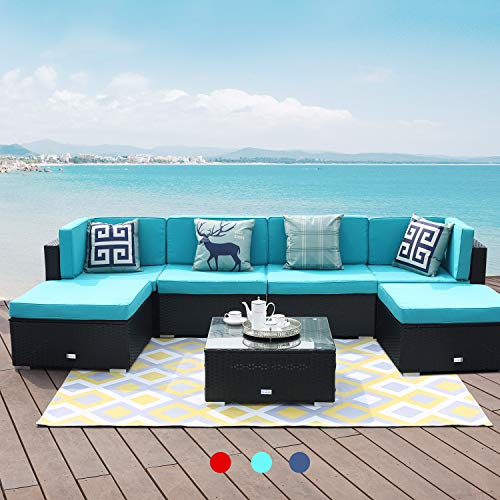 LUCKWIND Patio Conversation Sectional Sofa Chair Table – 7 Piece All-Weather Black Checkered Wicker Rattan Seating Green Cushion Patio Ottoman Modern Glass Coffee Table Outdoor Accend Pillow 300lbs