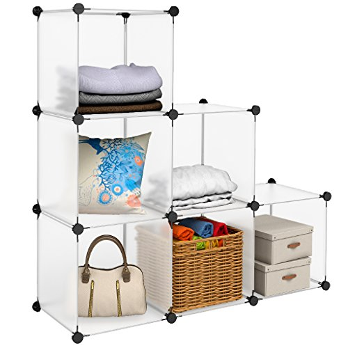 LANGRIA 6-Cubes Plastic Organizer Storage Cabinet, DIY Clothes Closet Shelves, Wire Organization System, Bookcase