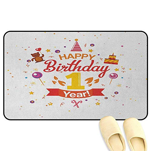 homecoco 1st Birthday Bath Mat Non Slip Birthday Party with Cones Teddy Bear Candies and a Cake Print Red Marigold and Purple Rubber Front Entrance Outside Doormat W16 x L24 -
